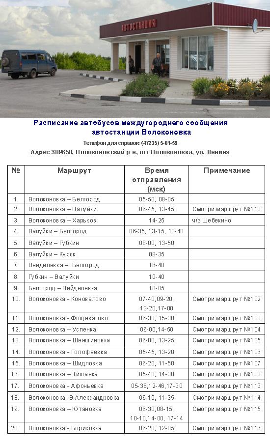Движение автобусов по автостанции Волоконовка