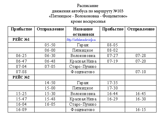 Маршрут №103 «Пятницкое-Волоконовка-Фощеватово»