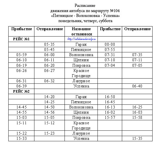 "104 маршрут ""Пятницкое-Волоконовка-Успенка"""