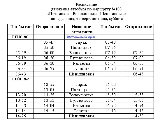 "105 маршрут ""Пятницкое-Волоконовка-Шеншиновка"""