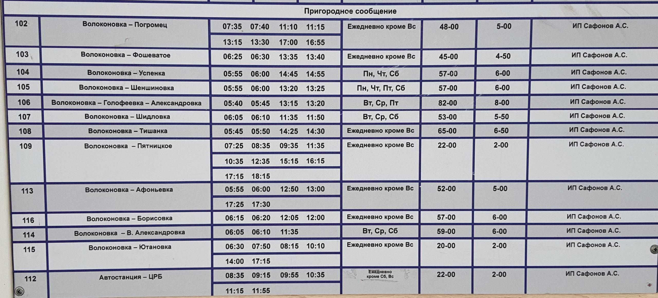 расписание Волоконовка